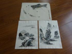 黃賓虹學生,常州藉著名老畫家方.正(有.無款國畫3幅)14:魚等