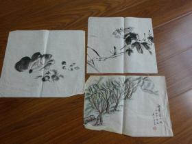 黃賓虹學生,常州藉著名老畫家方.正(有.無款國畫3幅)3:龍華夫竹?等
