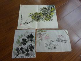黃賓虹學生,常州藉著名老畫家方.正(有.無款國畫3幅)4:花
