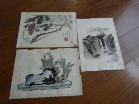 黃賓虹學生,常州藉著名老畫家方.正(有.無款國畫3幅)6:葡萄等