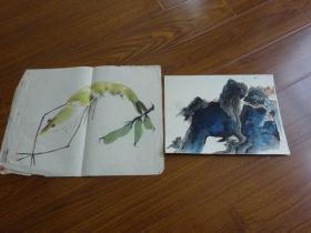 黃賓虹學生,常州藉著名老畫家方.正(有.無款國畫2幅)15:蝦等