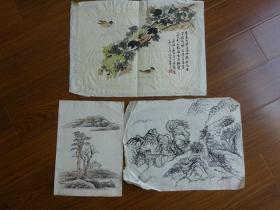 黃賓虹學生,常州藉著名老畫家方.正(有.無款國畫3幅)8:籬菊等