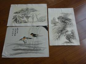 黃賓虹學生,常州藉著名老畫家方.正(有.無款國畫3幅)11:燕子等