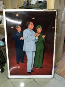 手繪毛主席,林彪,周恩來三人全身像搪瓷板畫 ,長1米1