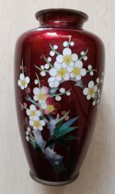 民國時期梅花七寶燒銅胎花瓶
