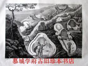 """1825年銅版畫《東帝汶華人墓地》Jacques Etienne Victor Arago (1790-1855)Vue d'un Cimetiere Chinois, Pres de Coupang, Ile Timor. + Vue du Tombeau du Raja de Taybeno. Engraver: Schroeder 185mm x 260mm (7.28"""" x 10.24"""")"""