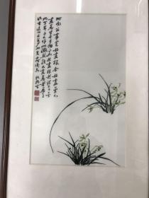 精品甌繡 鄭板橋蘭花 55x34cm 鏡框 繡工極好,清雅