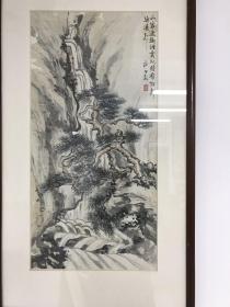 著名畫家 浙江文史館早期館員 施公敏先生少見山水 70x35 鏡框