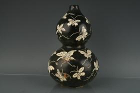 宋磁州窑黑釉白花蝴蝶纹葫芦瓶