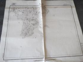 民國地圖 0814 即墨縣       中華民國三十六年印制 國防測量局 58*45厘米