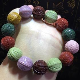 純天然頂級多彩瑪瑙手鏈,戈壁綠瑪瑙,紅瑪瑙,紫瑪瑙,六瓣金剛多彩多寶手鏈,大顆粒極為罕見難得,收藏珍品
