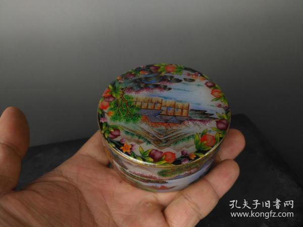 Fine Wenwan. Qing Dynasty Enamel Color Western Painting Landscape Watermark Clay Box