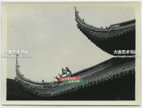民國上海佛教龍華寺古建筑樓宇屋脊屋頂建筑細節老照片