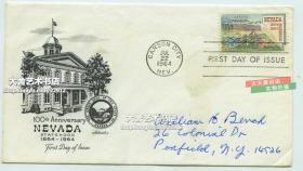 1964年內華達州開疆建立一百周年紀念郵票首日封實寄封