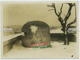 民國湖北武漢漢口長江邊日軍的射擊碉堡老照片,泛銀