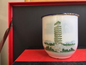 Zhengzhou Erqi Memorial Tower during the Cultural Revolution --- enamel tea pot,