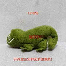 Plush toy: grass green grimacing chameleon