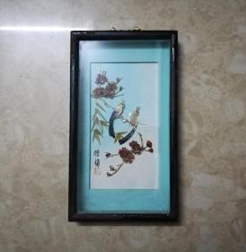 精细美雅的文革花鸟纹贝雕画