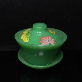 古董收藏古法琉璃茶盏X
