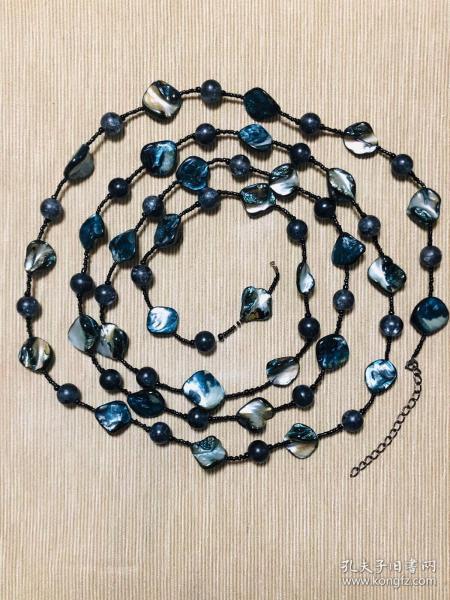 鹦鹉螺项鍊,配水晶珠,超长
