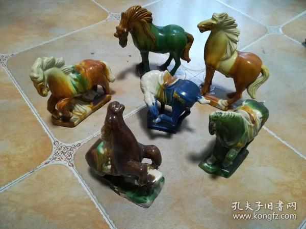 小三彩马六件