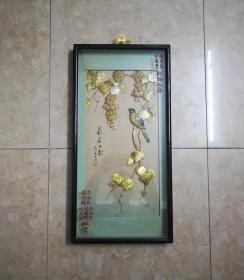 非常精美的文革花鸟纹贝雕画