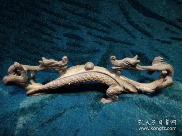 铜制精致双龙笔架