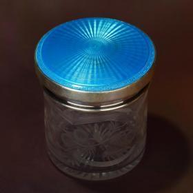 【英国 纯银珐琅水晶储物/茶叶罐】