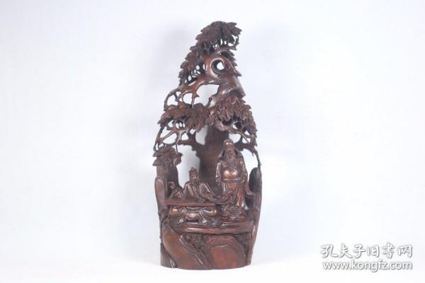 """Old bamboo carving """"Boyazi period"""" hollowed high relief pine"""