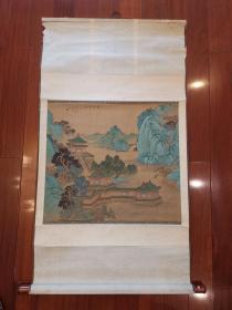 八十年代少石《青峰翠柳》工筆重彩絹本立軸 鉤金 雪白干凈