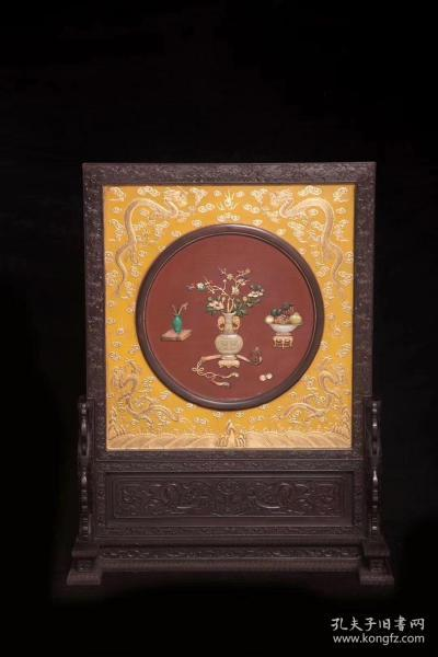 清代 紫檀框漆心描金龙纹嵌博古插屏