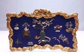 清代 铜鎏金框镶嵌蓝底百宝挂屏