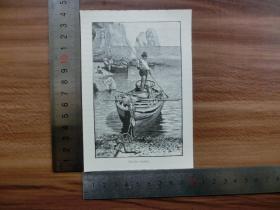 【現貨 包郵】1890年小幅木刻版畫《小碼頭》(piccola marina )尺寸如圖所示(貨號400489)