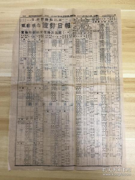 【民国日本证券报纸】1944年日本京都市场《证券日报》一张