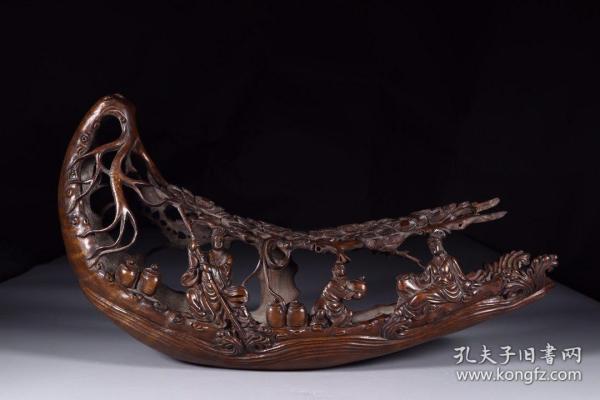 清代:竹雕仙人乘槎摆件1