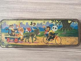 七十年代铁质彩色动物图案文具盒(天津市工读牌)