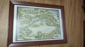 早期杭州西湖绘图  原框  原玻璃