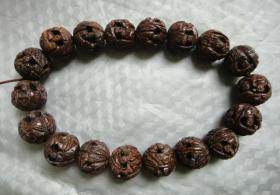 18颗老橄榄核雕珠串