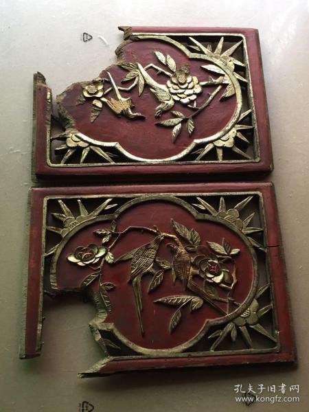 《特价》精美老木雕,清代民国鎏金花鸟觅食一对《喜鹊登梅》