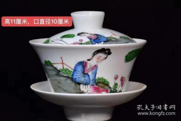 大清统治年制粉彩人物茶碗、器型规整精致,画工精致,纯手绘画工