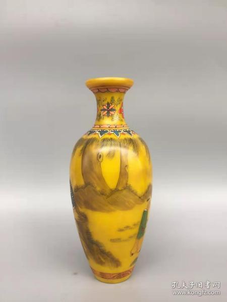 古玩收藏琉璃外画花瓶B