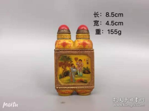 古玩收藏琉璃外画鼻烟壶装饰摆件收藏品古装B