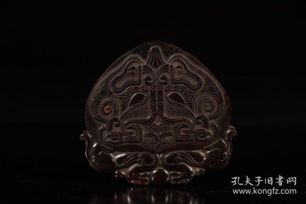 旧藏,角雕兽面纹挂牌