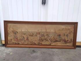 欧洲回流羊绒细织手工织锦画屏,西洋人物图案,图案复杂细致,做工繁复,密织细工,实木框,保存完好,已装裱,尺寸156/58