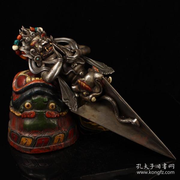 西藏寺院收老纯手工寒铁打造雕刻玛哈嘎拉金刚降魔杵