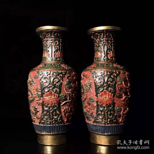 古玩收藏手绘彩漆器龙纹瓶漆器手工彩绘花开富贵花瓶摆件一对L