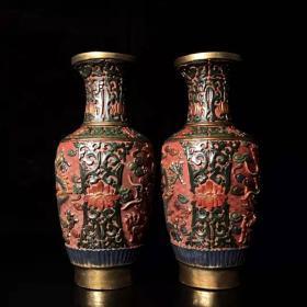 Antique collection hand-painted lacquerware dragon bottle lacquerware hand-painted flowers bloom rich vase decoration pair L