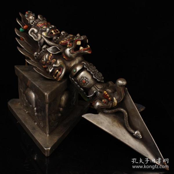 西藏寺院收老纯手工寒铁打造雕刻镶嵌宝石彩绘藏传密宗大威德金刚护法降魔杵2