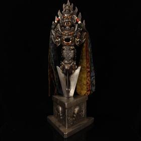 西藏寺院收老纯手工寒铁打造雕刻镶嵌宝石彩绘藏传密宗大威德金刚护法降魔杵
