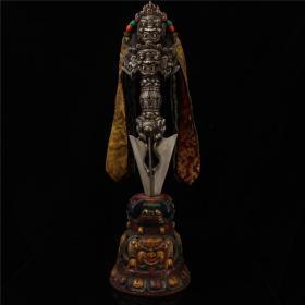 西藏寺院收老纯手工寒铁雕刻藏传佛教密宗金刚辟邪降魔杵法器